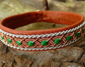 Leather Lapland bracelet FREY Sami cuff with copper and pewter braids, in your colors and size