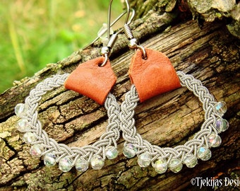 Lapland viking earrings, RIMFAXE Sami dangle hoop with crystals