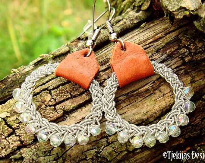 Lapland viking earrings, RIMFAXE Sami dangle hoop with crystals
