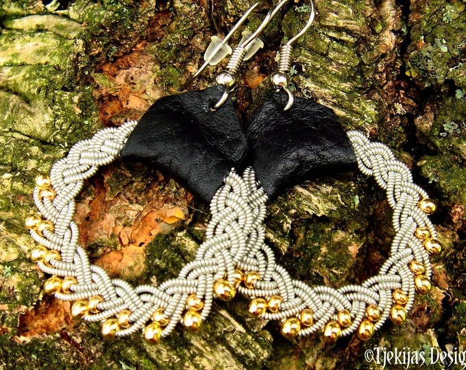 Sami earrings, GULDFAXE viking hoops, 14k gold in pewter and leather