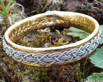 KRAKA Sami Laplander bracelet - pewter and leather cuff