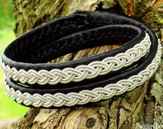 Leather wrap viking bracelet, LIDSKJALV Saami craft pewter cuff