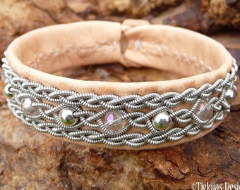 Viking leather cuff YDUN, Sami craft with sterling silver and crystals in pewter braids
