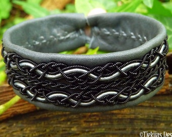 Goth cuff RAVEN viking black copper and leather Saami bracelet
