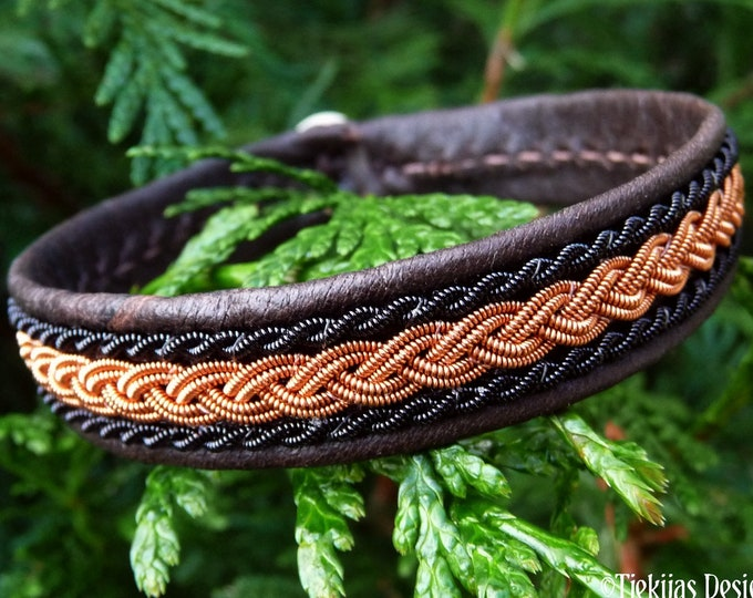 Black copper Danish viking leather bracelet, MJOLNIR Sami craft cuff