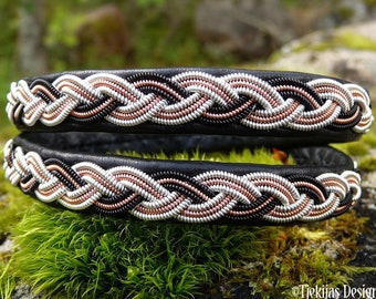 Laplander Sami wrap bracelet AURORA Nordic folklore cuff, reindeer leather, spun pewter, copper and black copper braid