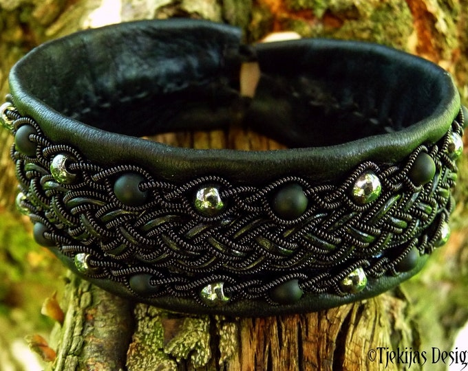Nordic Gothic cuff GERI black copper with onyx and hematite beads