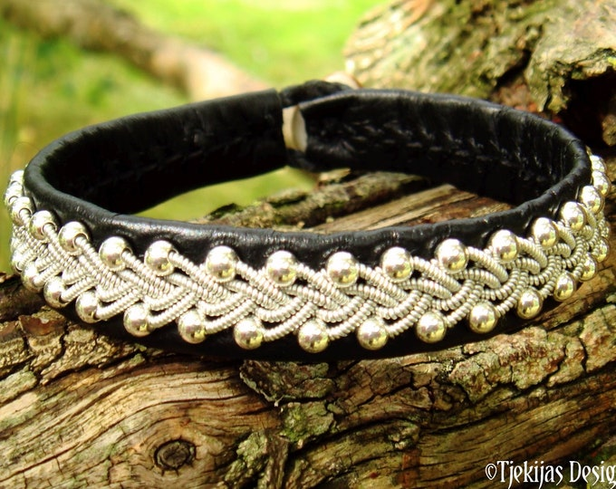 Swedish viking Sami bracelet SKINFAXE leather and sterling silver cuff
