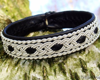 Sami pewter and leather viking wristband VANAHEIM Norse Folklore craft