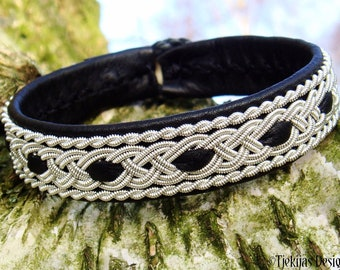 Sami pewter and leather wristband VANAHEIM Norse Folklore craft