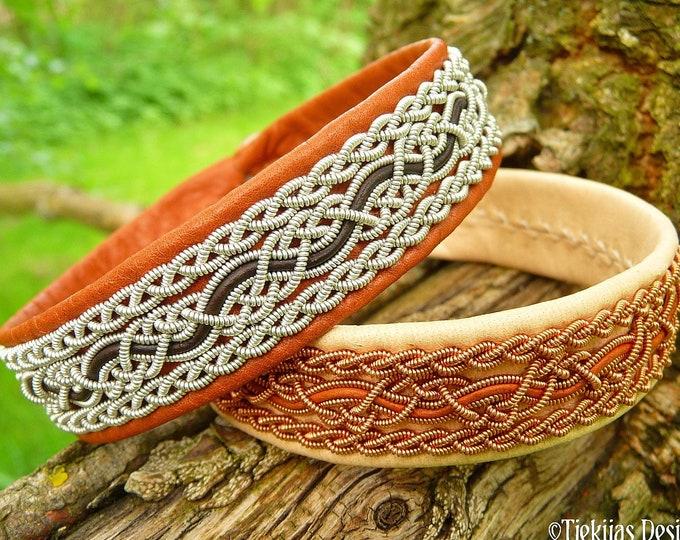 NIDHOGG viking bracelet - Sami style pewter and leather cuff