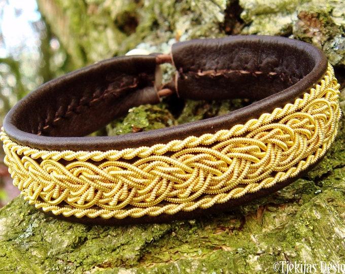 Nordic gold cuff bracelet GRANI Custom handmade Sami jewelry