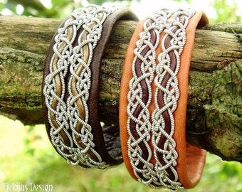 Leather viking cuff MUNINN handmade Swedish Sami bracelet