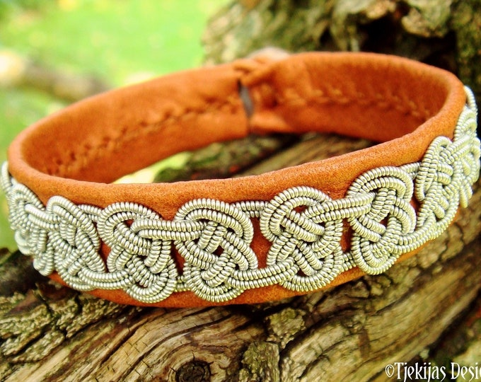 Celtic bracelet GRENDEL, Sami pewter and leather cuff