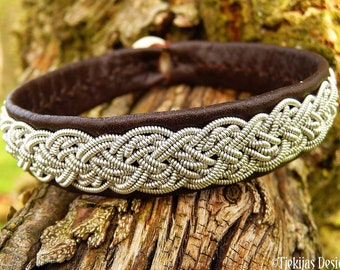 Sami viking cuff bracelet YGGDRASIL, handmade leather Nordic folklore jewelry