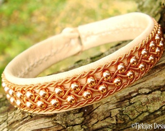 Copper beaded and braided Celtic bracelet ROSKVA leather cuff in Sami style