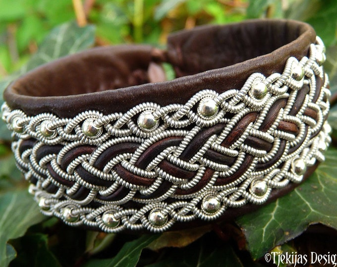 Leather viking cuff GERI, handcrafted Sami bracelet with Sterling silver beads