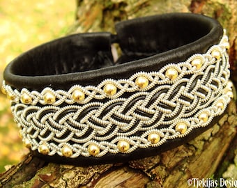 Shieldmaiden Sami leather cuff GERI with 14k gold beads