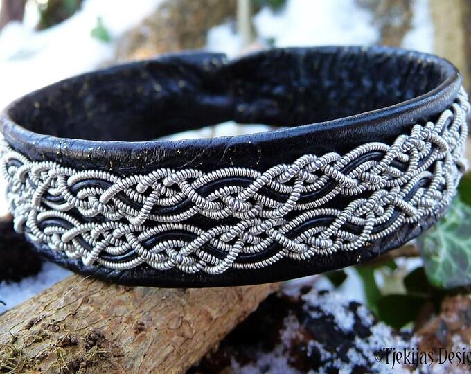 Leather viking cuff MUNINN custom handmade Swedish Sami bracelet