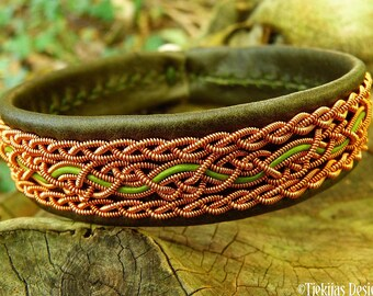 Swedish viking copper cuff NIDHOGG, Handcrafted Sami leather bracelet