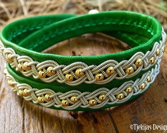 Pewter and leather wrap bracelet, BIFROST with 14k gold beads