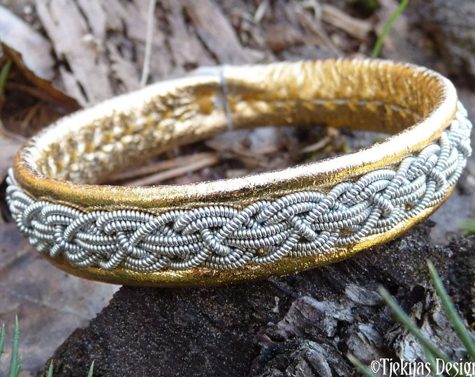 KRAKA Sami bracelet - pewter and leather cuff, custom made in the Swedish Highlands