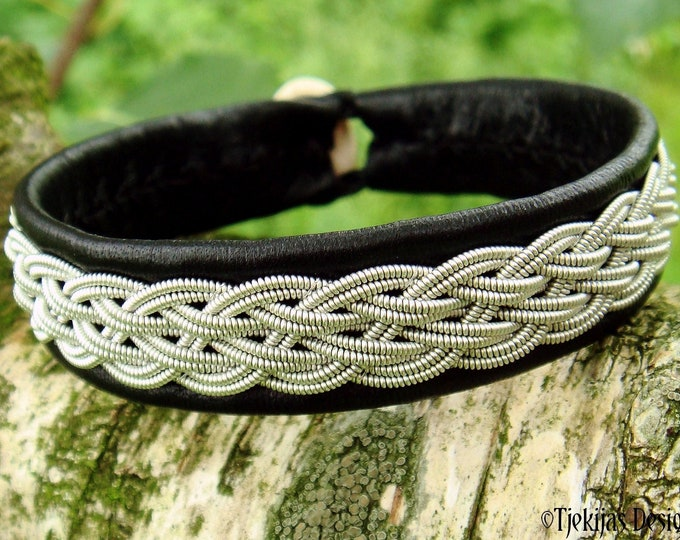 Handmade pewter and leather cuff, DVALIN Sami viking bracelet