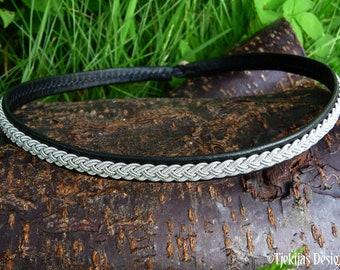 Leather viking choker necklace ASGARD, Scandinavian Sami jewelry, custom handmade
