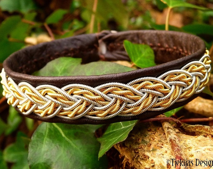 Viking leather cuff, VIMUR two tone 14k gold and silver Sami armband