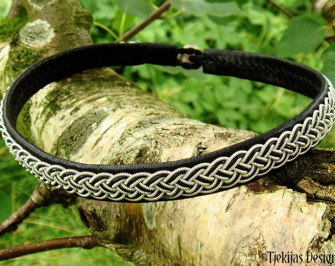 Sami necklace, FREKI Nordic viking choker, pewter and leather collar