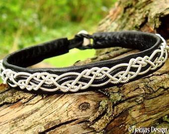 Sami viking bracelet, HUGINN handmade Nordic pagan leather wristband