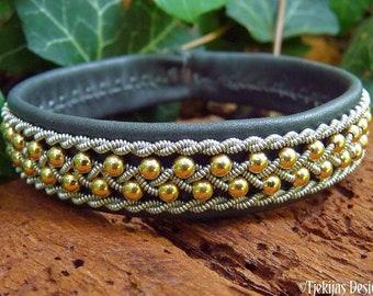 Sami gold cuff, ROSKVA Handmade Norse mythology leather bracelet