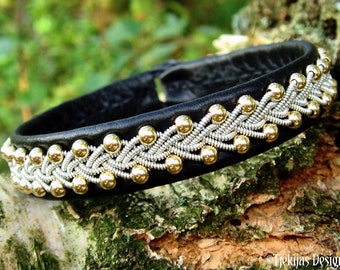 Sami gold and leather cuff bracelet SKINFAXE