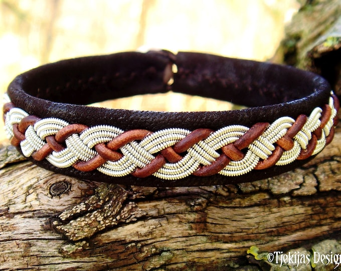 VALHAL wristband, pewter and leather Sami bracelet