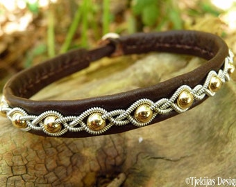 Gold and leather viking bracelet GJALL