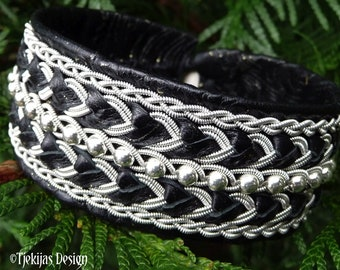 Leather cuff bracelet BOLTHORN, with Sterling silver beads