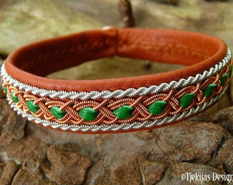 Leather Lapland bracelet FREY copper and pewter braids