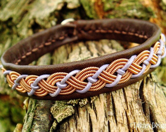 Danish viking leather copper bracelet cuff VALHAL Sami craft jewelry