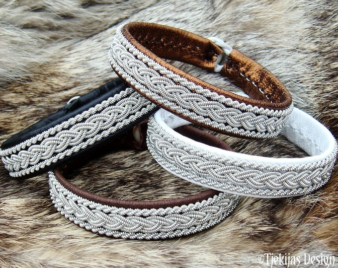 Viking MJOLNIR bracelet, Sami leather tennarmband, handmade Scandinavian folklore