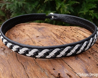 Viking necklace, Sami leather choker, Swedish handmade folklore VANAGANDR