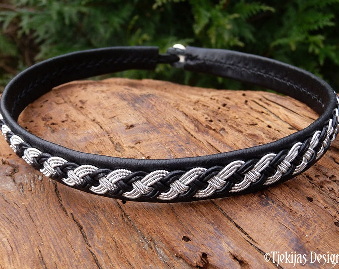 Viking necklace, Sami leather choker, Swedish handmade folklore VANAGANDR