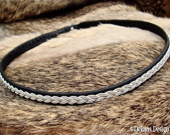 Scandinavian Sami necklace LIDSKJALV pewter and leather choker