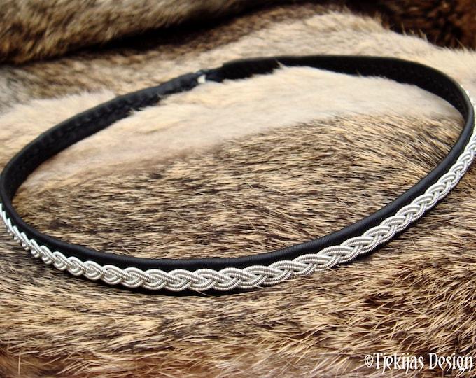 Scandinavian Sami necklace LIDSKJALV pewter and leather choker