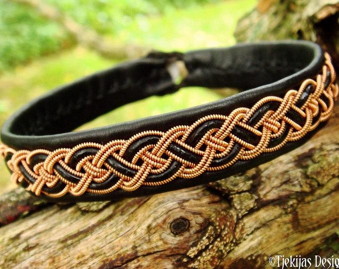 NIFLHEIM Danish viking bracelet, Sami craft leather and copper cuff