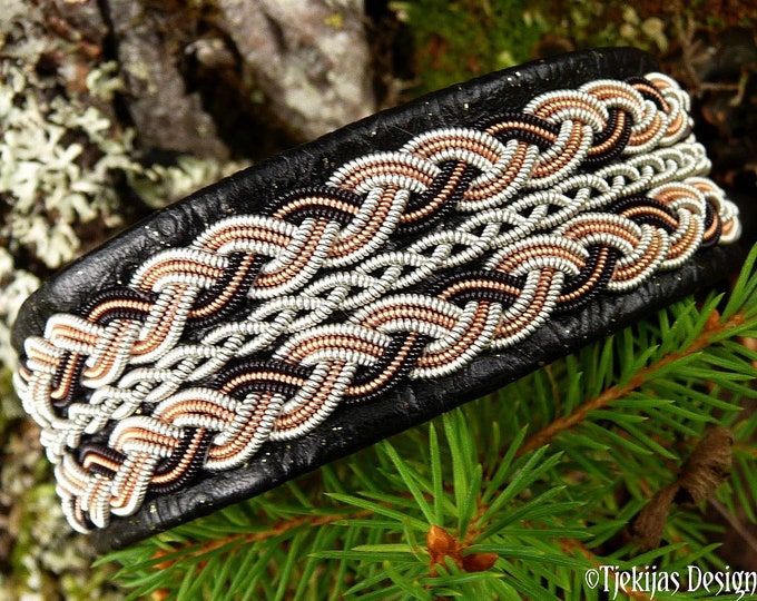 Swedish Highland viking Sami bracelet cuff AURORA black, copper, pewter braids on leather