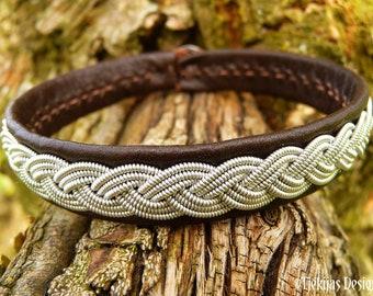 EDDA Swedish Sami folklore bracelet cuff in reindeer leather with pewter braid