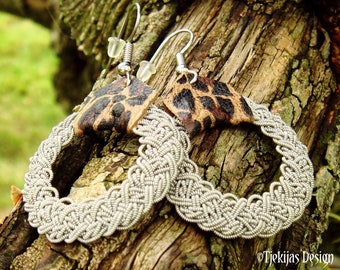 Viking earrings YGGDRASIL Sami jewelry with filigree pewter braids and leather