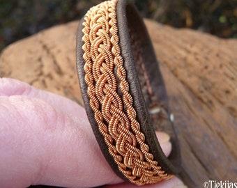 Sami bracelet, S / 17 cm, Antique brown reindeer leather, Copper braid, Antler closure, MJOLNIR ready to ship