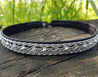 Sami leather necklace YDUN Swedish Folklore, pewter choker with silver and crystals