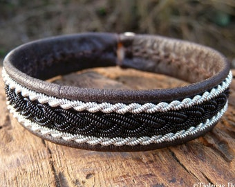 Sami bracelet, S / 17 cm, Antique brown reindeer leather, Black copper and pewter braids, Antler closure, MJOLNIR ready to ship